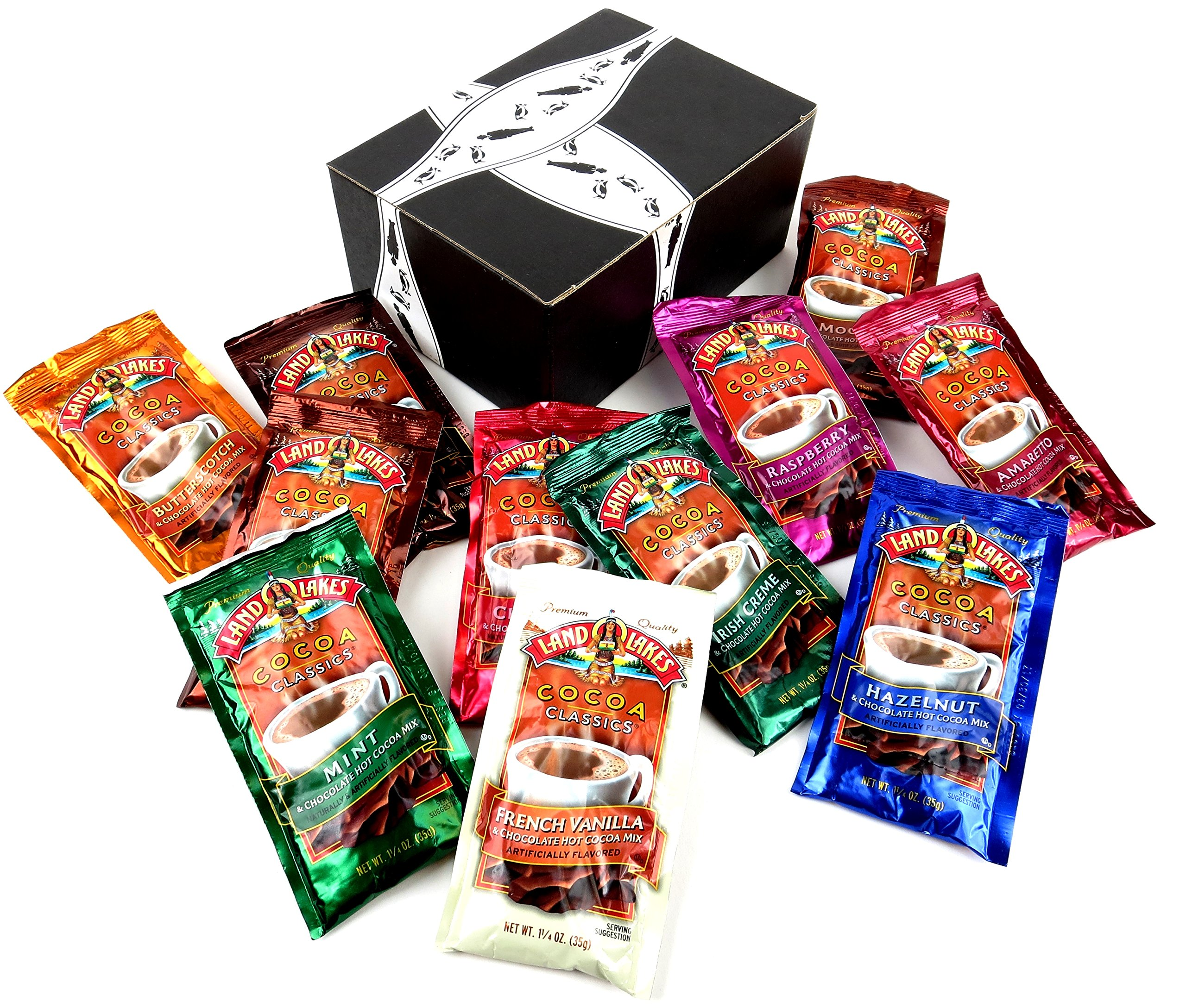 Land O Lakes Cocoa Classics Hot Cocoa Mix 11-Flavor Variety: One 1.25 oz Packet of Each Flavor in a BlackTie Box (11 Items Total)