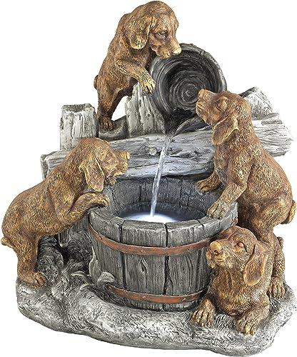 Design Toscano SH382614 Puppy Pail Pour Dog Garden Decor Cascading Fountain Water Feature