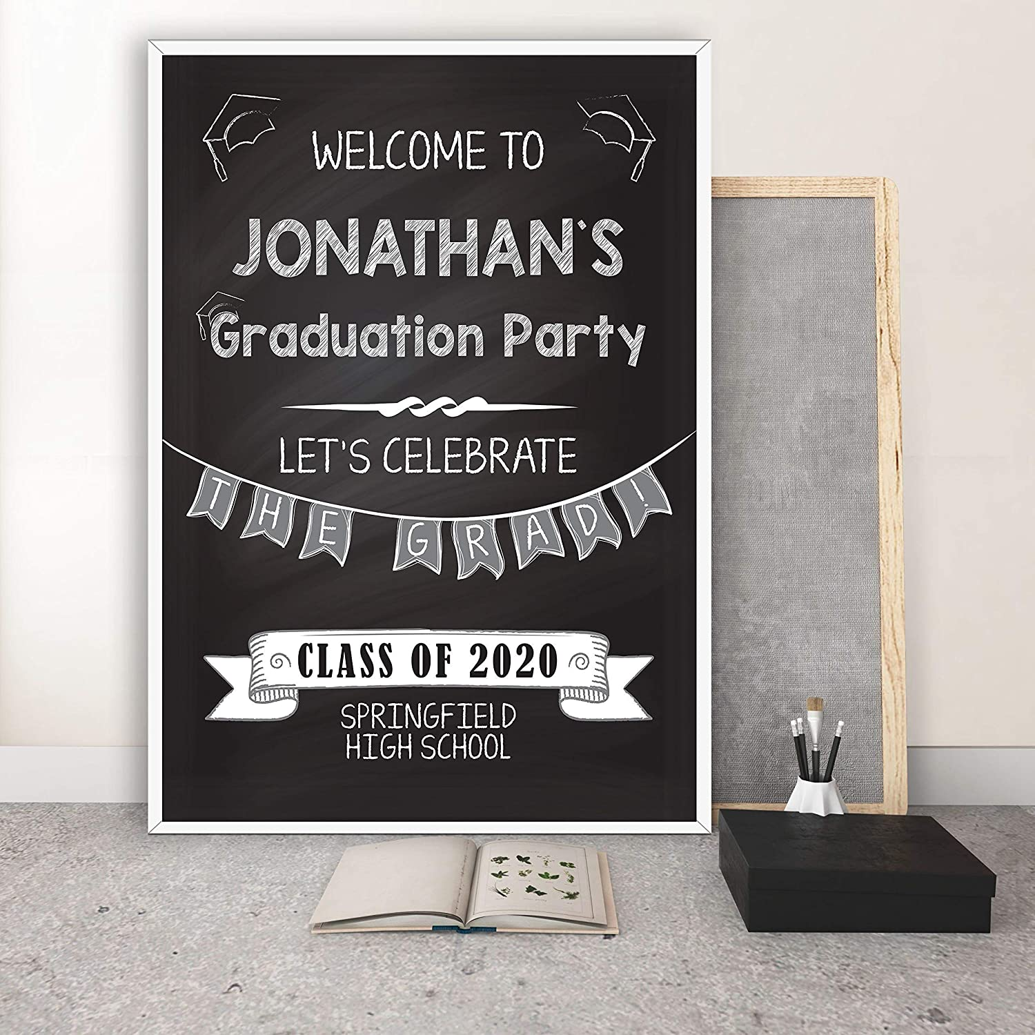 Graduation Party Decoration Graduation Poster Sign High School Graduation Decorations Personalized Banners and Signs for Graduation Graduation Chalkboard Sign Size 24x18 36x24 and 48x36