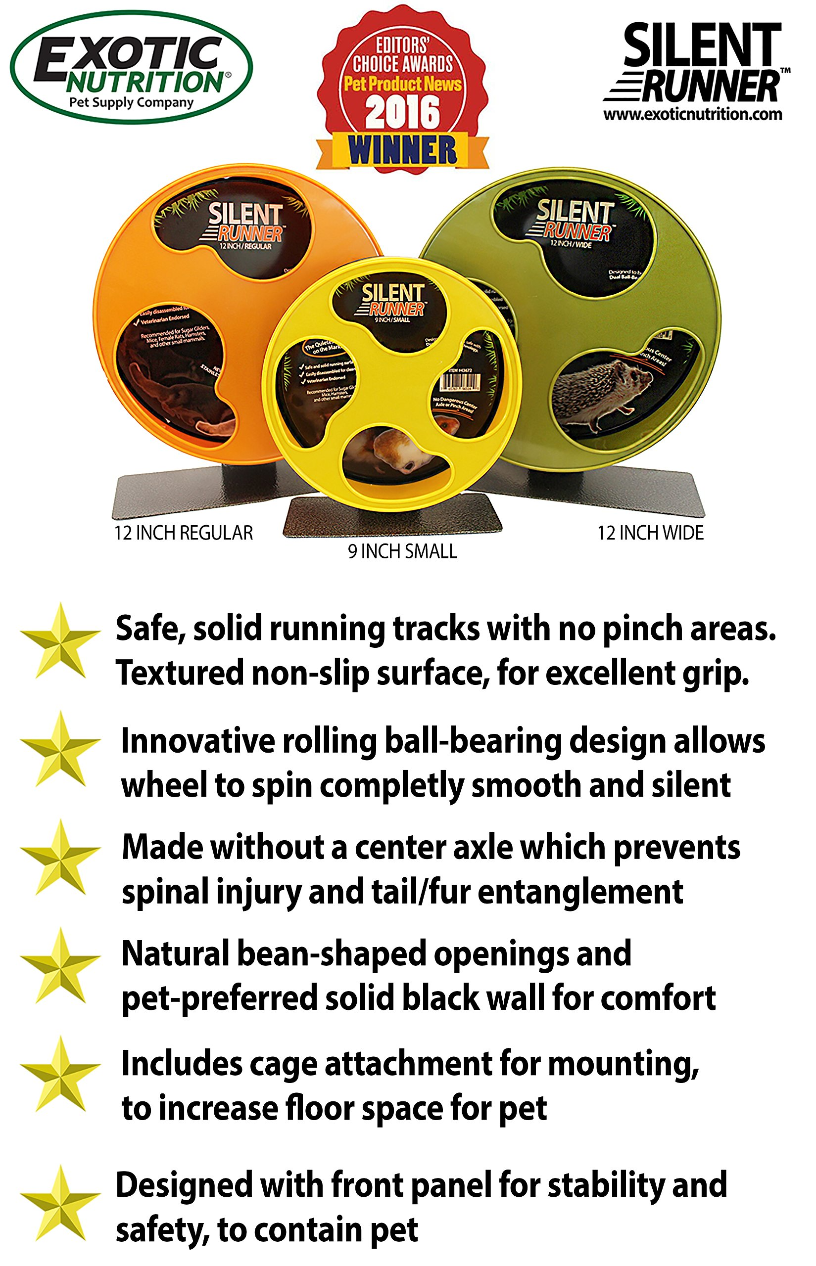 Exotic Nutrition Silent Runner 9'' - Pet Exercise Wheel + Cage Attachment by Exotic Nutrition (Image #2)
