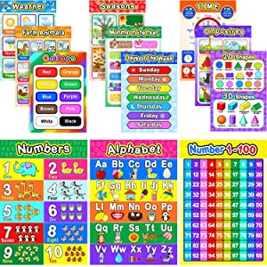 Educational Preschool Poster for Toddlers and Kids with 80 Glue Point Dot, Great for Nursery Homeschool Kindergarten Classroom - Teach Numbers Alphabet Colors Days and More, 16 x 11 Inch (12 Pieces)