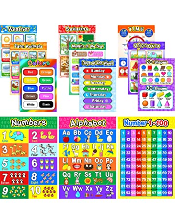 5ad4bddc1 Educational Preschool Poster for Toddlers and Kids with 80 Glue Point Dot,  Great for Nursery