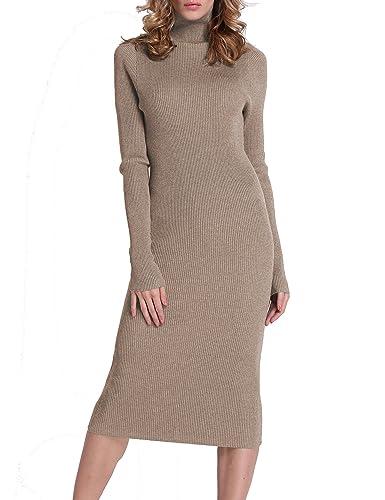 Roco Roca Women's Turtleneck Ribbed Long Sleeve Knit Sweater Dresses