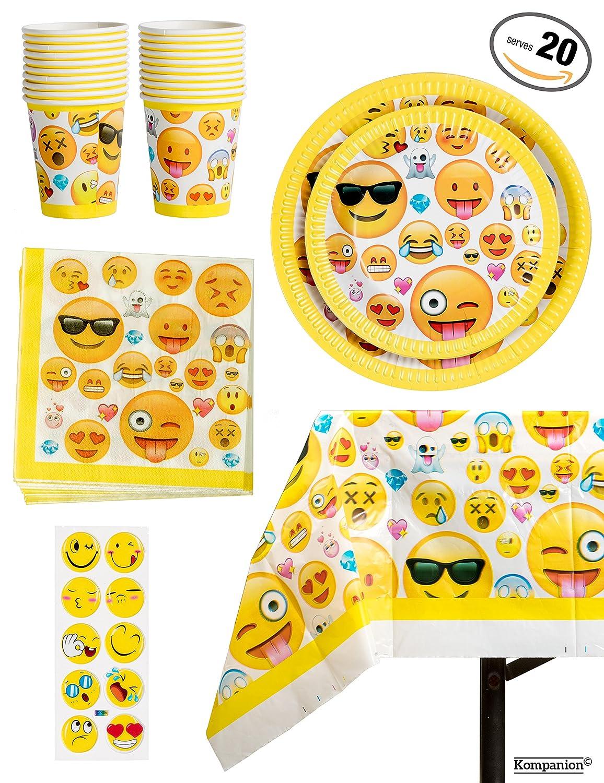 81 Piezas Vajilla para Cumpleaños – Diseño de Emoji – 20 Platos Vasos, Servilletas y Mantel Resistente – Accesorios de Fiesta para Celebración – Articulo de Menaje para Eventos - BONUS Pegatinas de Emoticono Kompanion