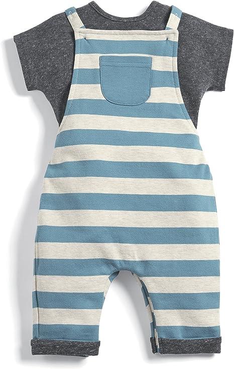 Mamas /& Papas Baby Stripe Jersey Dunagree /& Tee Clothing Set