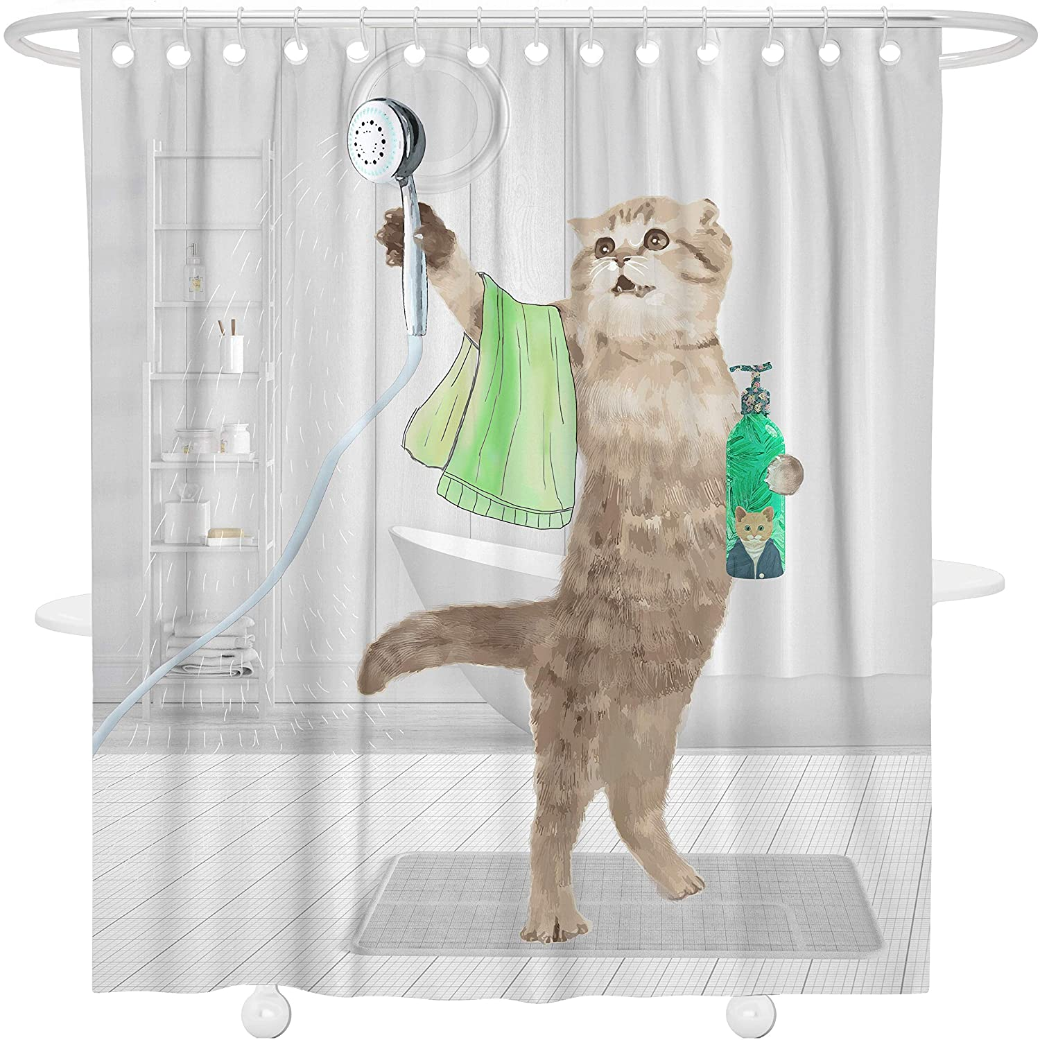 Bonsai Tree Cat Shower Curtain, Animal Fabric Bathroom Decor Set,Clear-Non Toxic,Eco-Friendly,No Chemical Odor,Rust Proof Grommets Funny Cat Taking a Shower Bath Curtain with Hooks, 66x72 Inches