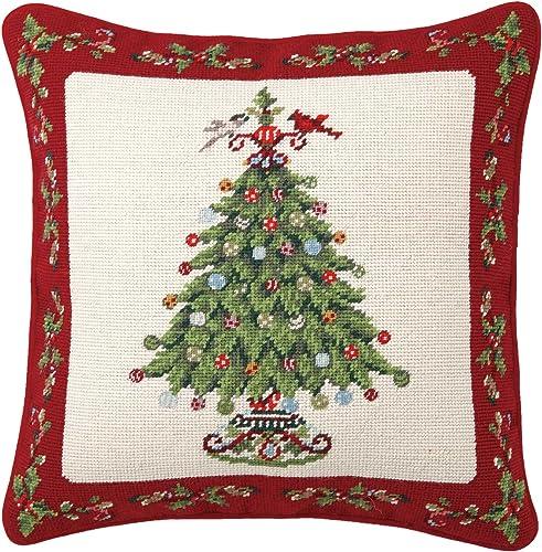 Peking Handicraft Holly Garden Tree Needlepoint Pillow