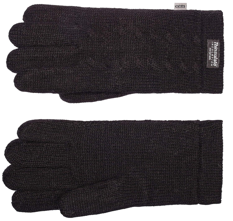 warm 100/% Wolle oder 100/% Baumwolle je nach Farbe modisch sportlich EEM Damen Strick Handschuhe FREYA mit Thinsulate/™ Thermofutter und Zopfmuster