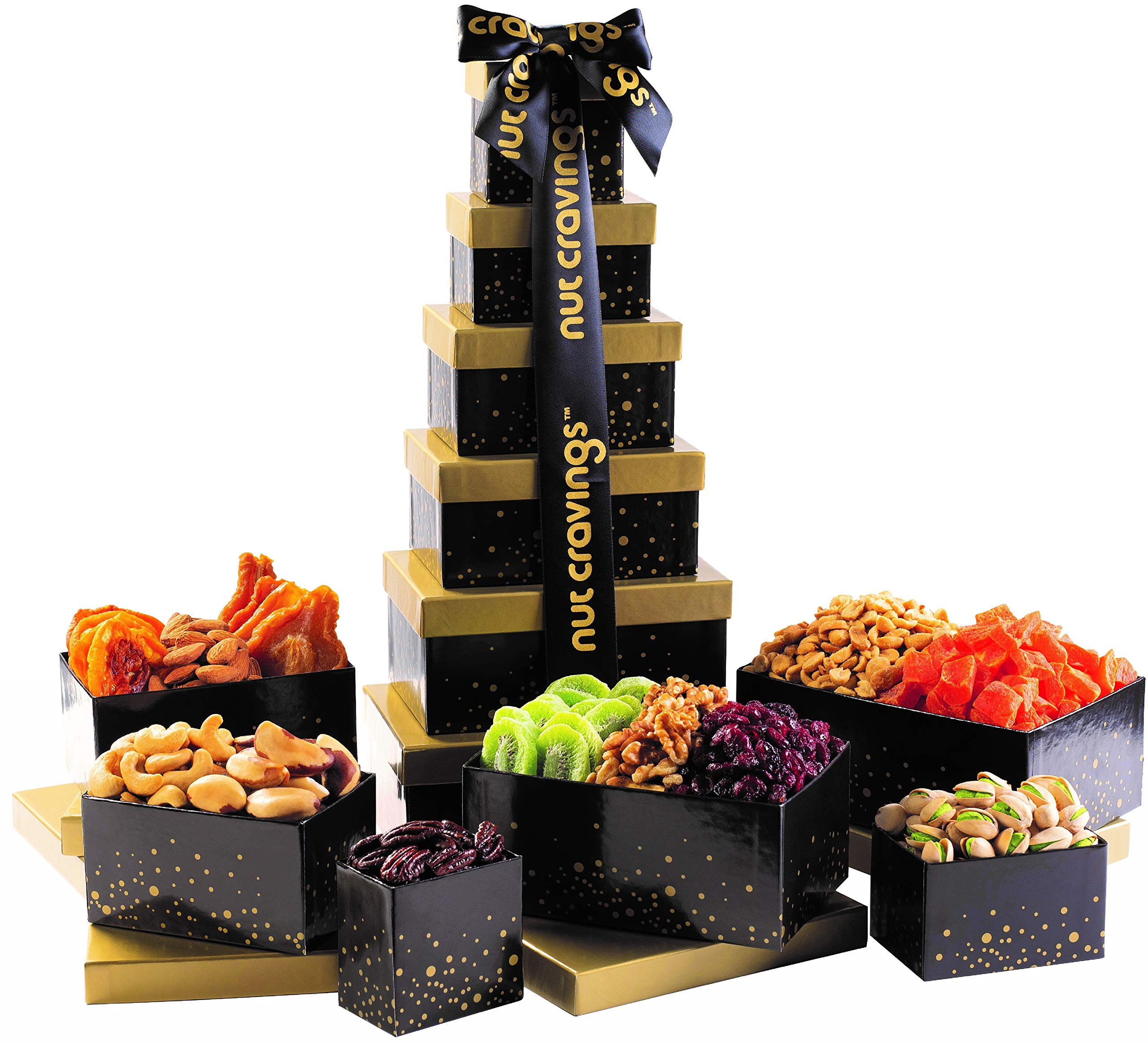 Holiday Nut and Fruit Gift Tower - Gourmet Mix of 12 Assorted Nuts & Dried Fruit Snacks in Individual Boxes - Large Bulk Variety Basket Set for Christmas, Holiday or Easter Gift By Nut Cravings