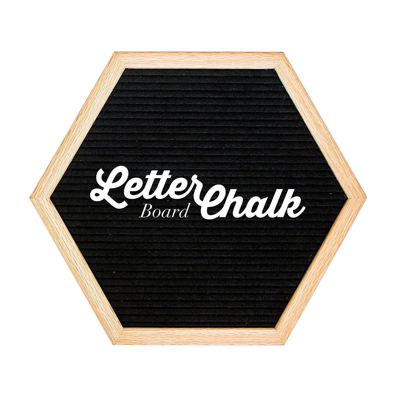 LetterChalk Letter Board Chalkboard Combination - Letter Board on Front - Chalkboard on Back (Hexagon - Black)