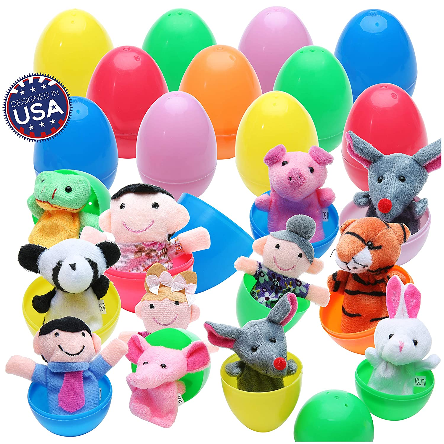 """20 Easter Eggs with Fun Finger Puppets - Assortment Surprise Plush Toys of Animal Finger Puppets in Plastic Eggs 2.4"""" x 1.6"""" (6cm x 4cm) Each Perfect for Easter Egg Hunt, Birthdays, Kids Gifts and Party Favors"""
