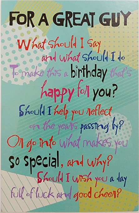Amazon For A Great Guy Happy Birthday Greeting Card Cute