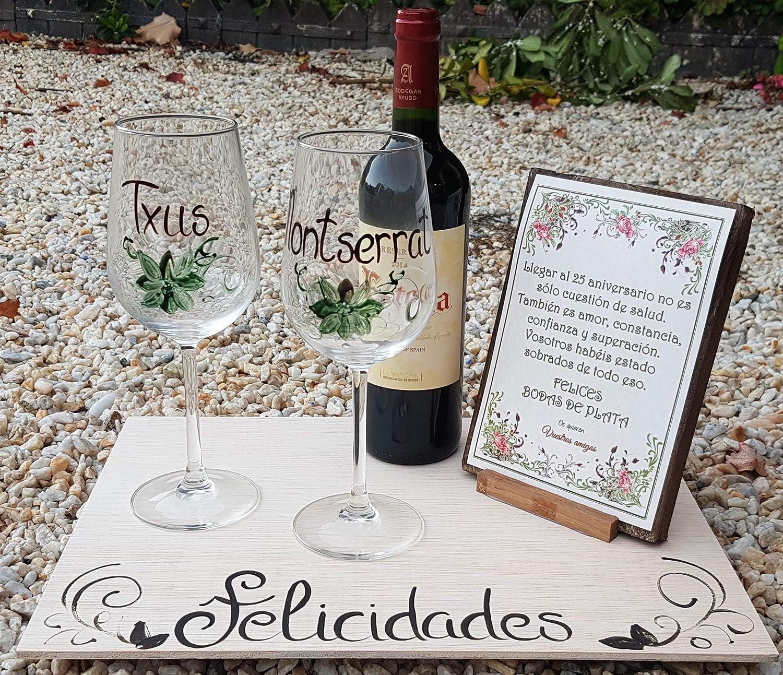 Regalo Boda de Plata/Oro personalizado con copas, vino y tabla: Amazon.es: Hogar