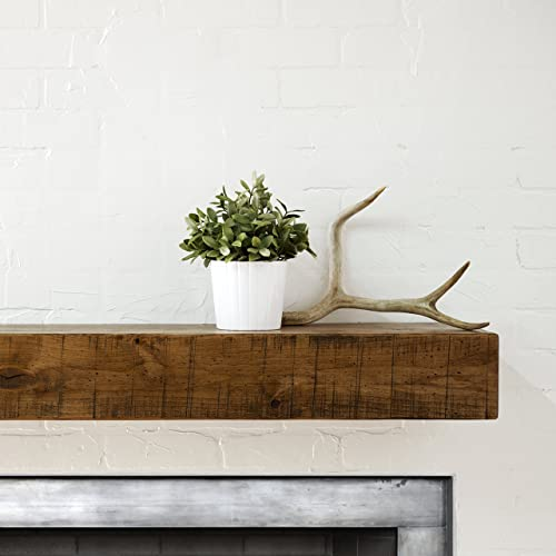 Dogberry Collections Rustic Mantel Shelf, Aged Oak, 48