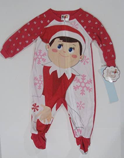 0e97e41dd Amazon.com  Elf on Shelf Girls 4T Red Sleeper - Zipper Down  Clothing