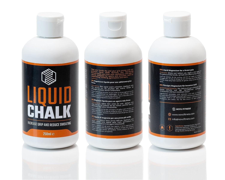 Chalk líquido (250 ml), tiza deportiva con agarre superior y manos libres de sudor para levantamiento de pesas, gimnasio, escalada, calambres, gimnasia, ...