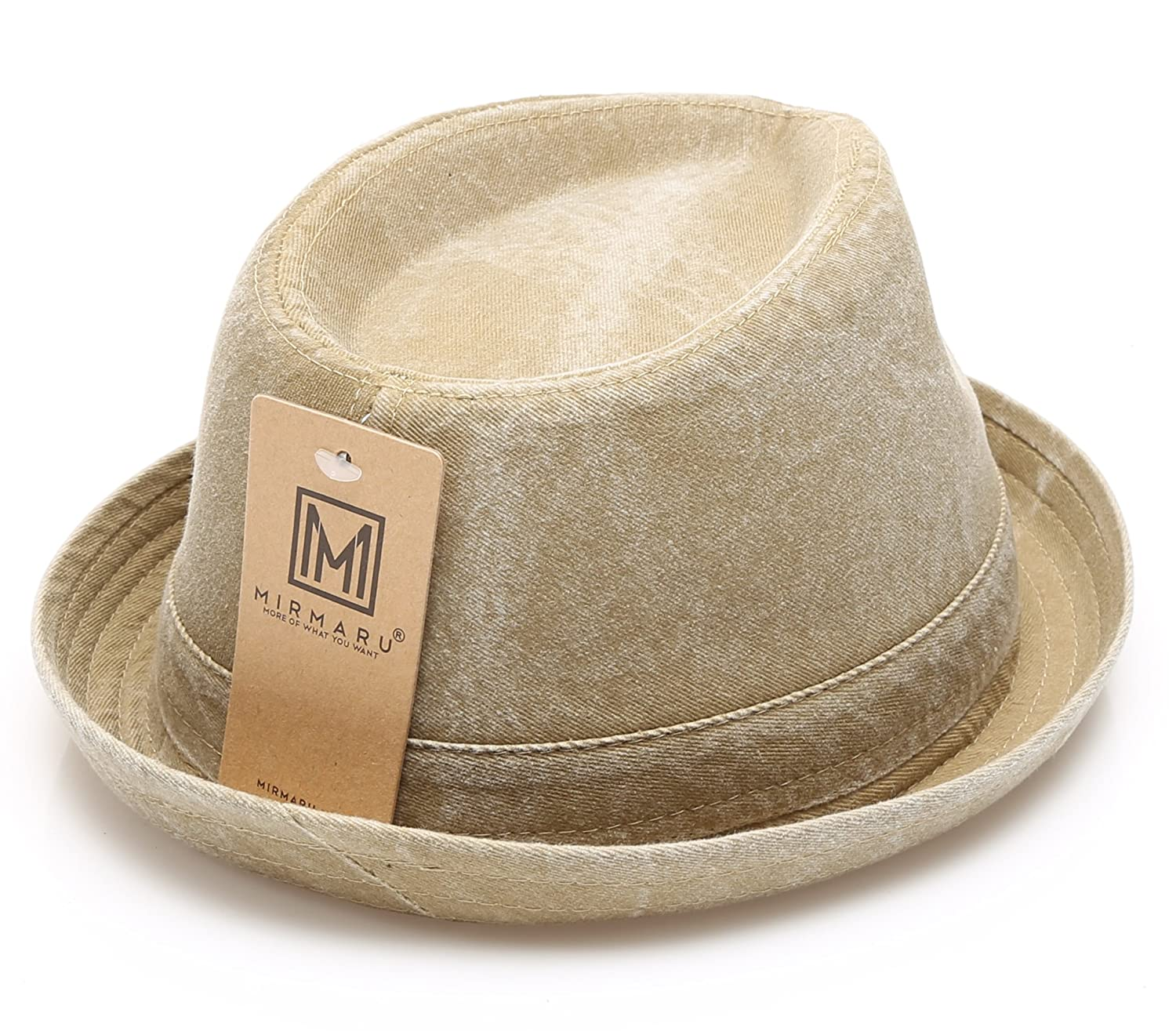 MIRMARU Men s Denim Washed Cotton Casual Vintage Style Fedora Sun Hat at  Amazon Men s Clothing store  5ad21ce552c3