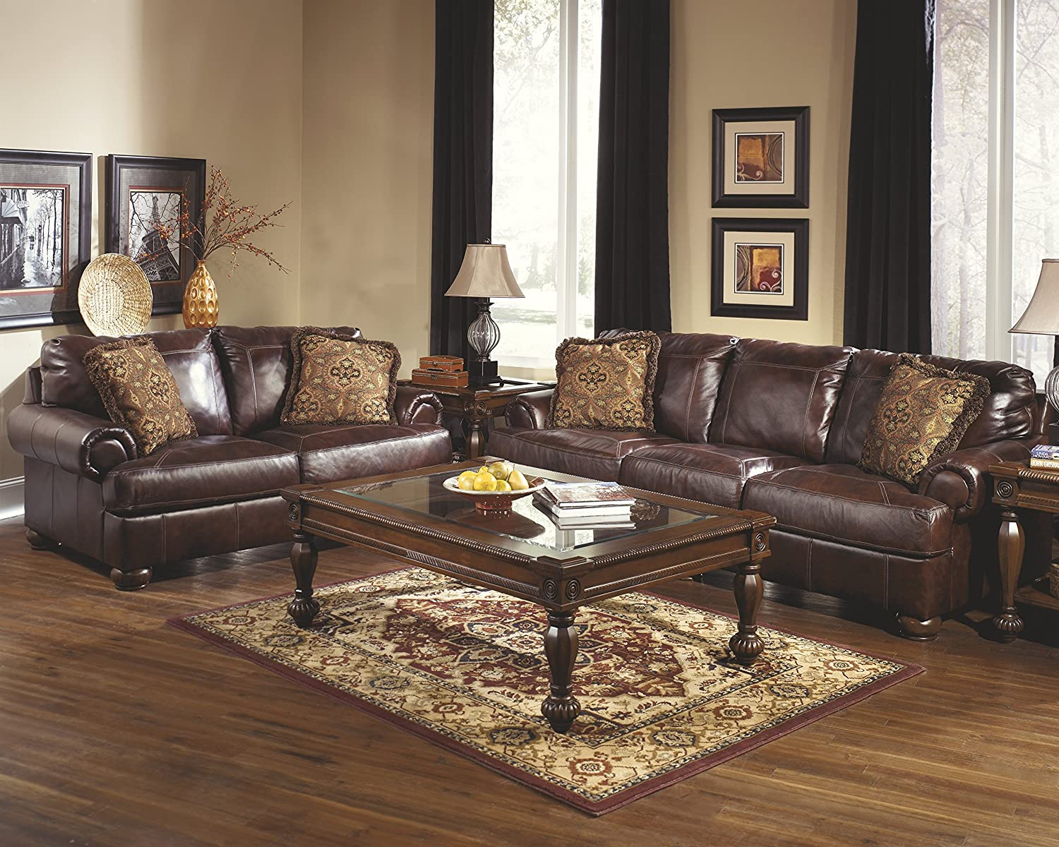Amazon: Ashley Furniture Signature Design  Axiom Sofa With 2 Accent  Pillows  Genuine Leather  Grand Elegance  Walnut: Kitchen & Dining