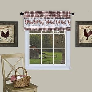 "Achim Home Furnishings Barnyard Window Curtain Valance 58"" x 14"" Burgundy"