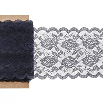 Lingu0027s Moment 6u0026quot;x22 Yard Navy Blue Lace Fabric Roll, Gorgeous U0026 Soft,