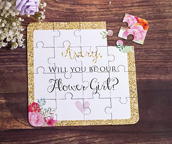Amazon Com Flower Girl Gift Puzzle Invitation Custom Will You Be My
