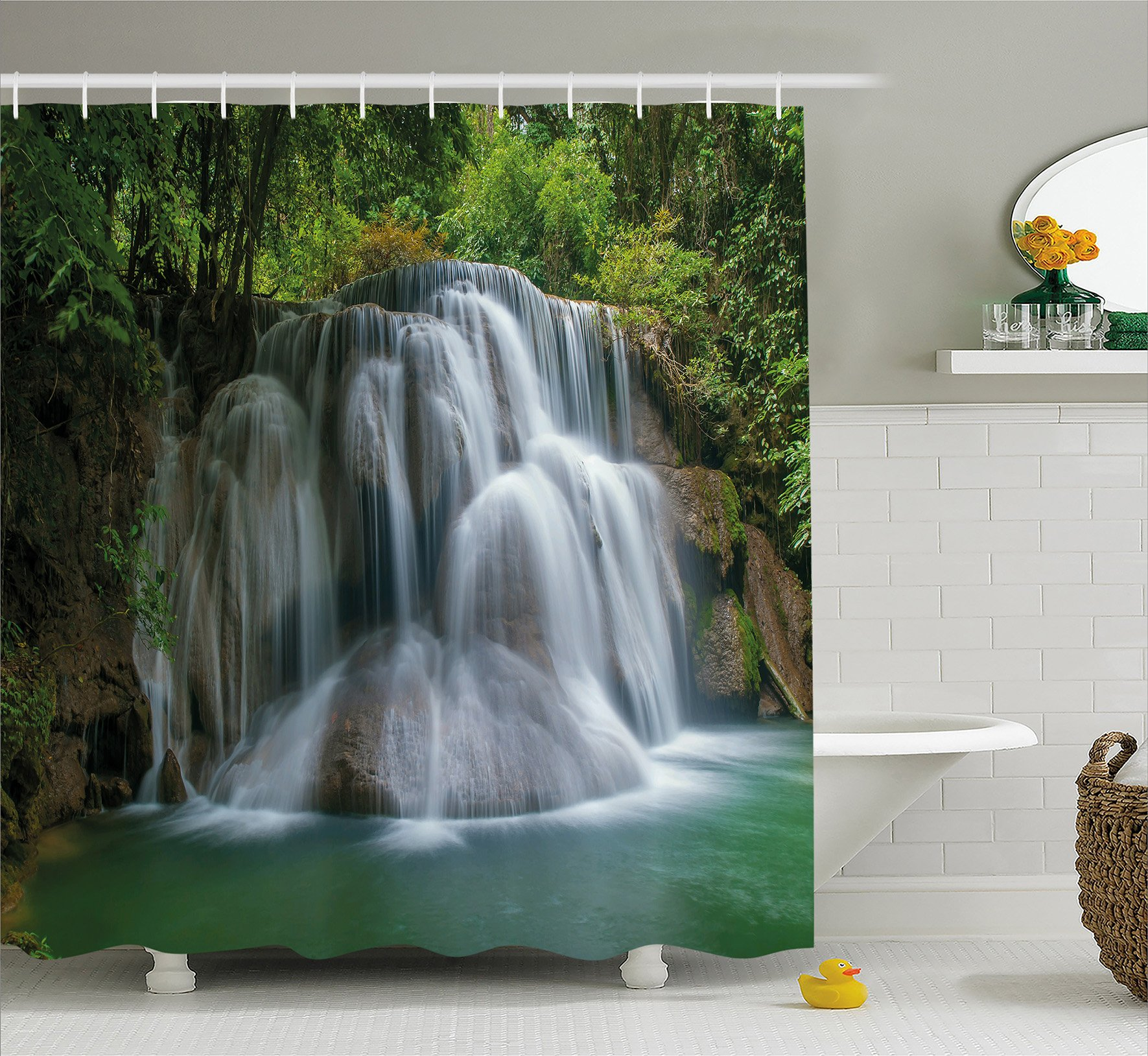 Ambesonne Waterfall Decor Shower Curtain by, Building like Massive Waterfall with Green Thai Exotic Bushes each side Artwork, Fabric Bathroom Decor Set with Hooks, 84 Inches Extra Long, Green
