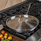 """Viking Culinary 12"""" Non-Stick Fry Pan with Lid Professional 5-Ply, 12 Inch, Silver"""