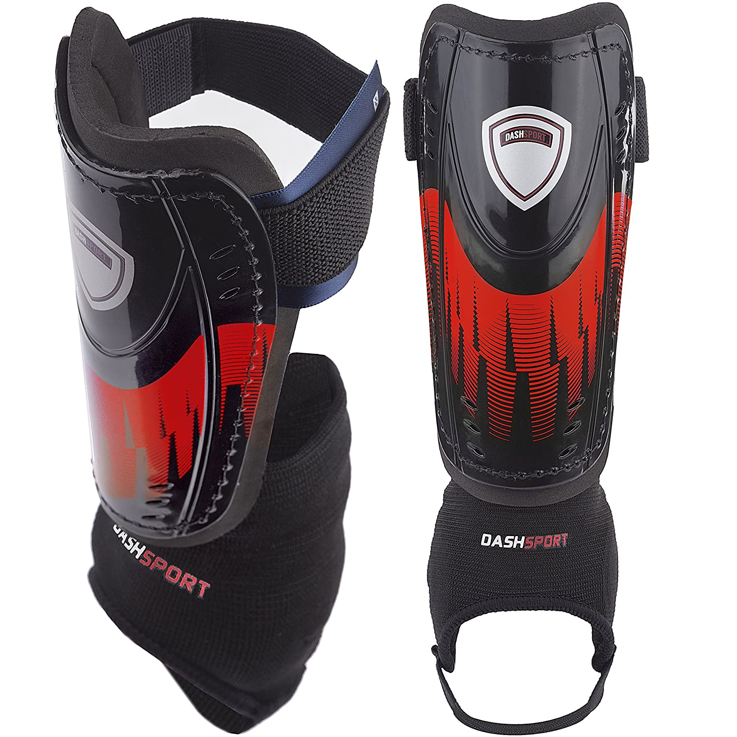 Soccer Shin Guards – ユースサイズ – by dashsport – Bestキッズ用サッカー機器with足首袖 – Great for Boys and Girls B073QXG2G6レッド Extra Small