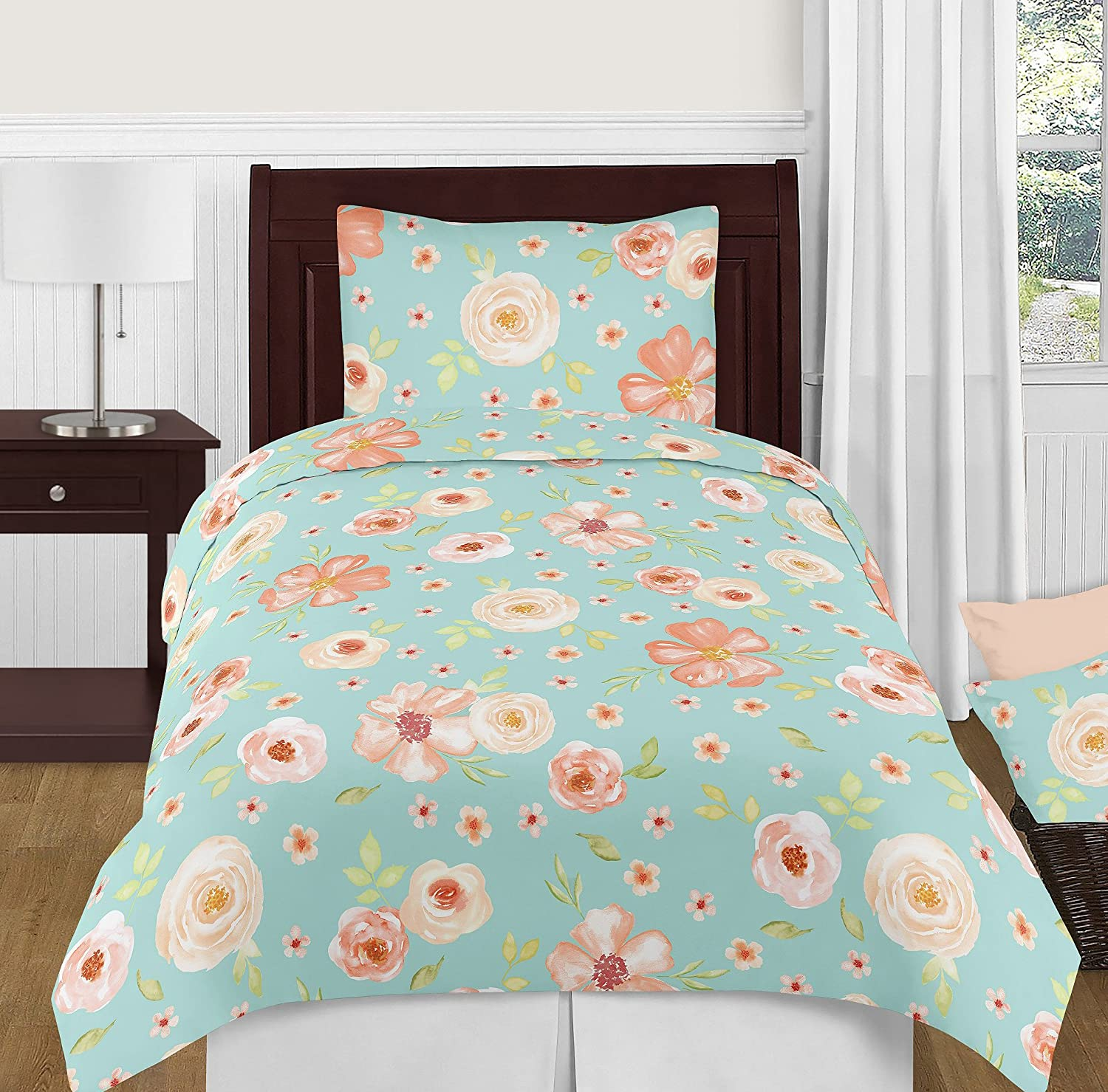 Pink Rose Flower 3 piece set Sweet Jojo Designs Turquoise and Peach Twin Sheet Set for Watercolor Floral Collection