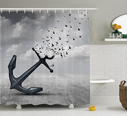 Ambesonne Birds Shower Curtain Anchor Turns Into Group Of Flying Seagulls For Liberty And