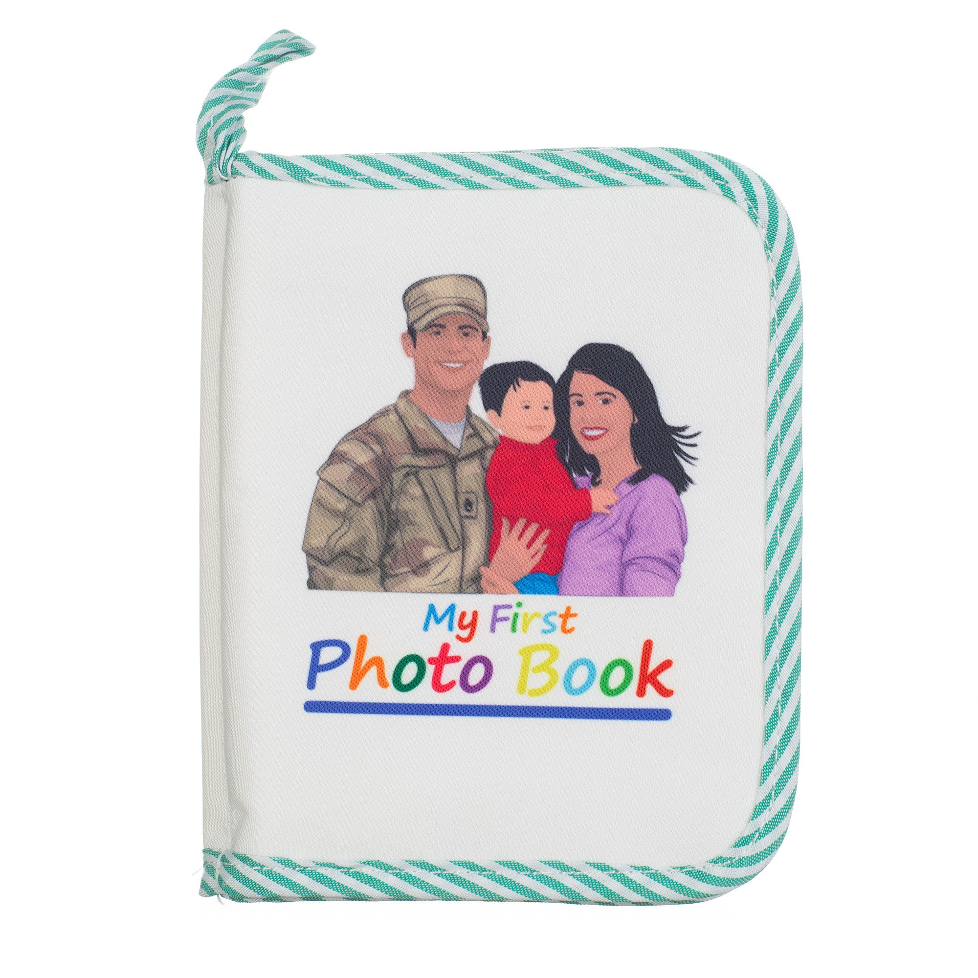 Baby Family Photo Album (Ethnic Military Edition) Scrapbook for Pictures, Photographs | Protective Plastic Covering | Lightweight, Compact