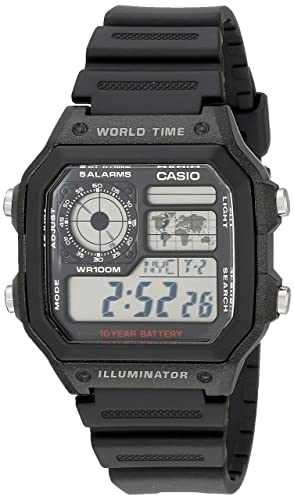 Amazon Com Casio Men S Ae1200wh 1a World Time Multifunction Watch