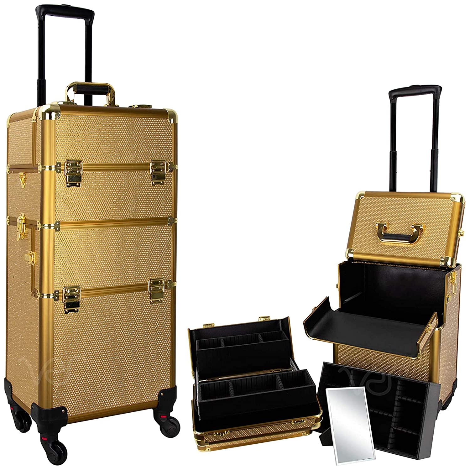 Amazon Com Ver Beauty Professional Rolling Makeup Case Heavy Duty Hair Stylist Makeup Artist Travel Case With Easy Slide And Extendable Trays Gold Krystal Vt002 47 Beauty