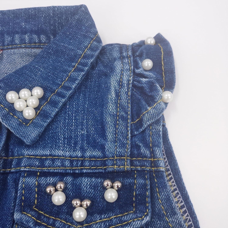 Chumhey Baby /& Little Girls Lapel Ruffle Sleeve Lace Trim Pearls Denim Vests