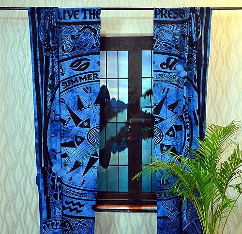 Sophia Art Indian Celtic Curtain Mandala Cotton Hippie Tapestry Door Decor Window Curtains Turqoise