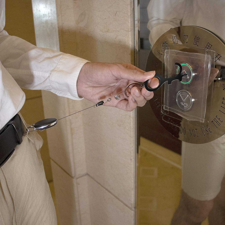 Poussoir et porte-cl/é sans contact Outil mains-libres comme une cl/é propre et un ferme-porte Outil d/'ouverture de porte sans toucher avec mousqueton r/étractable et d/écapsuleur