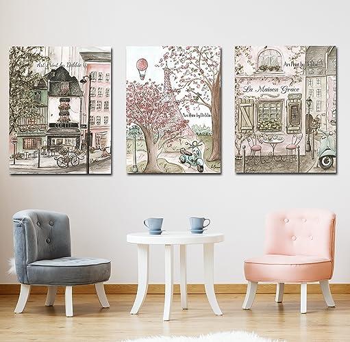 Amazon.com: Paris Theme Canvas Wall Art For Girls Bedroom, Set Of 3 ...