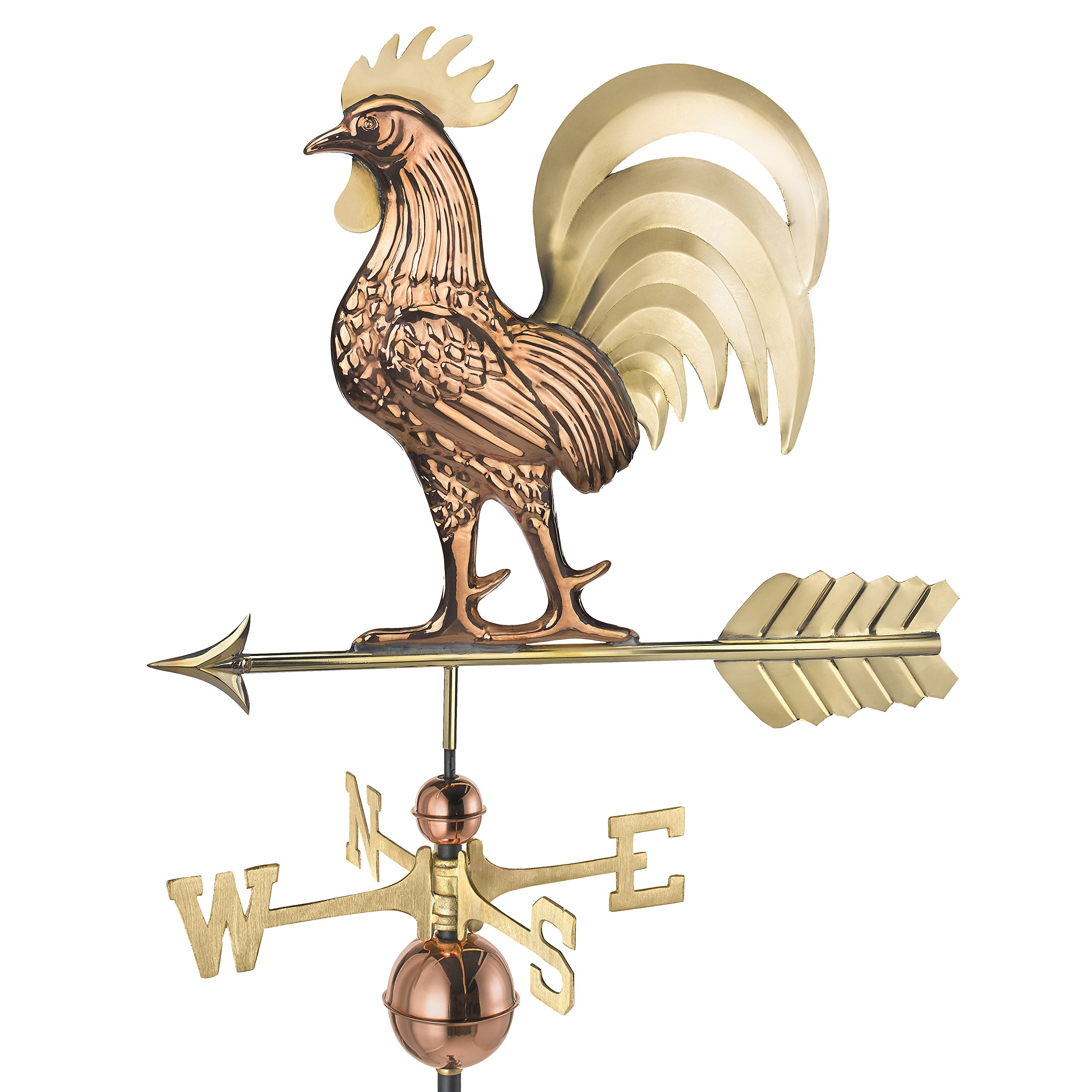 Good Directions Proud Rooster Weathervane - Pure Copper & Brass (26 inch), Rooftop Ornament, Wind Vane, Roof Décor