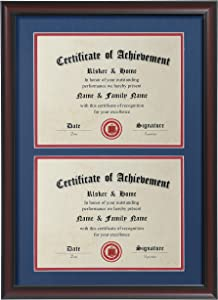 ELSKER&HOME Double Certificate Frame-Cherry Wood Color - 2.0mm Panels-Made for Document&Diploma for Two 8.5×11 Inch with Mat and 14×20 Inch Without Mat(Double Mat,Navy with Red Rim)