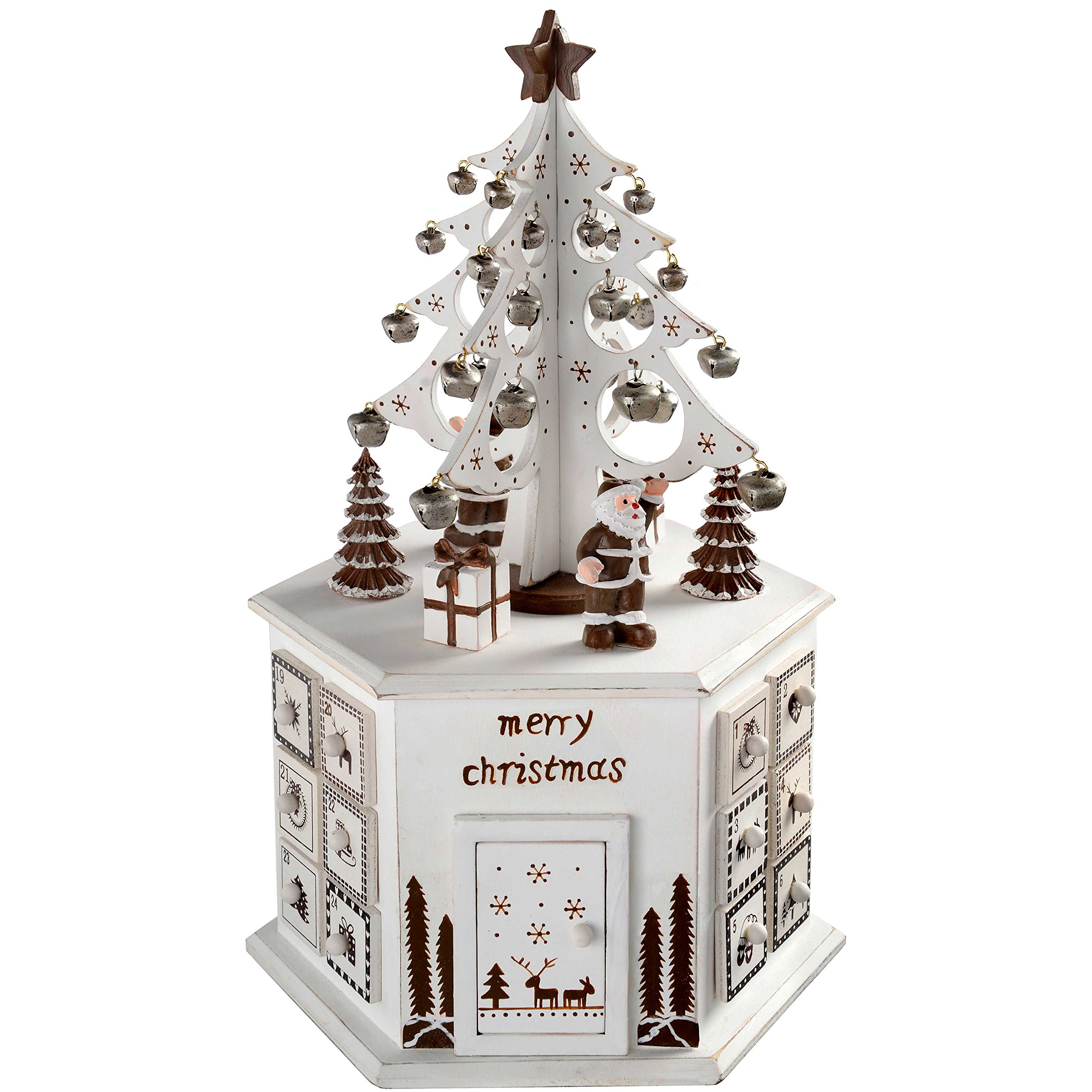 WeRChristmas Wooden Tree Advent Calendar Tower Christmas Decoration, 36 Cm - White by WeRChristmas (Image #1)