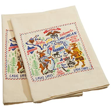 Primitives by Kathy Embroidered LOL Made You Smile Dish Towel, Michigan
