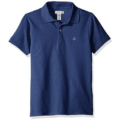 Calvin Klein Big Boys' Micro Pique Solid Polo, Dark Blue Heather, Large (14/16)