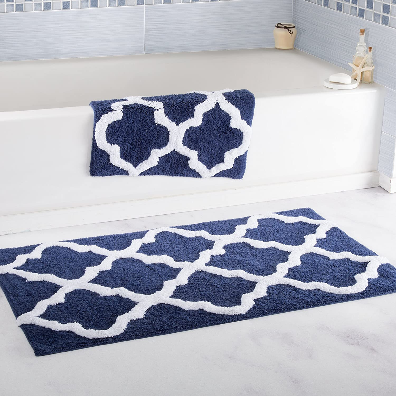 Lavish Home 100% Cotton 2 Piece Trellis Bathroom Mat Set - Navy