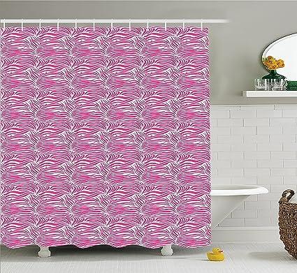 Mirryderr Zebra Print Decor Shower Curtain Set Striped Animal Skin Pattern In Vivid Color