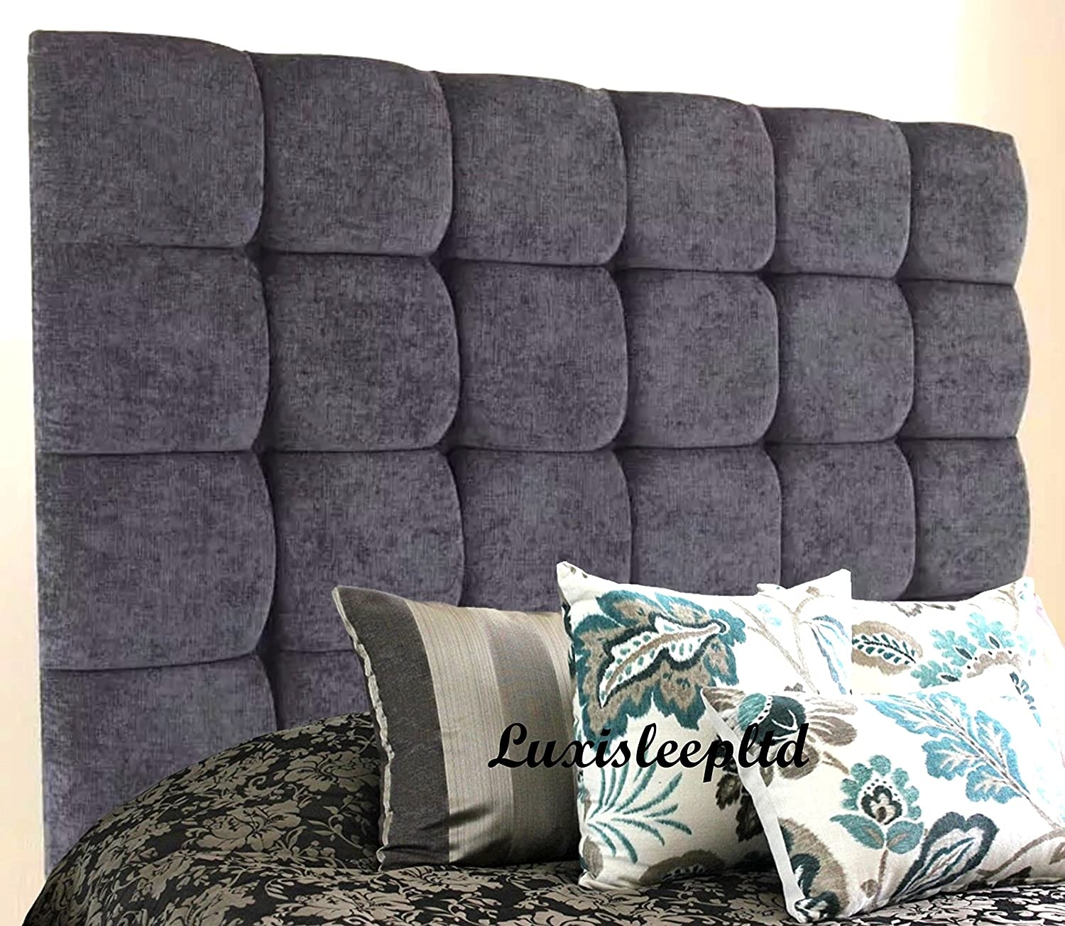 luxisleepltd Top Quality CUBES 30'' HEIGHT Headboard Finished In A Luxury Linen Fabric - Available in Range of Many Colours & All Sizes,3FT,4FT,4FT6,5FT,6ft (3ft, Black)