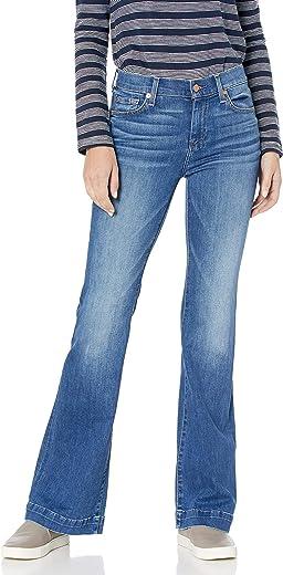 سروال جينز ضيق بقصة واسعة من الأسفل للنساء من 7 فور اول مان كايند