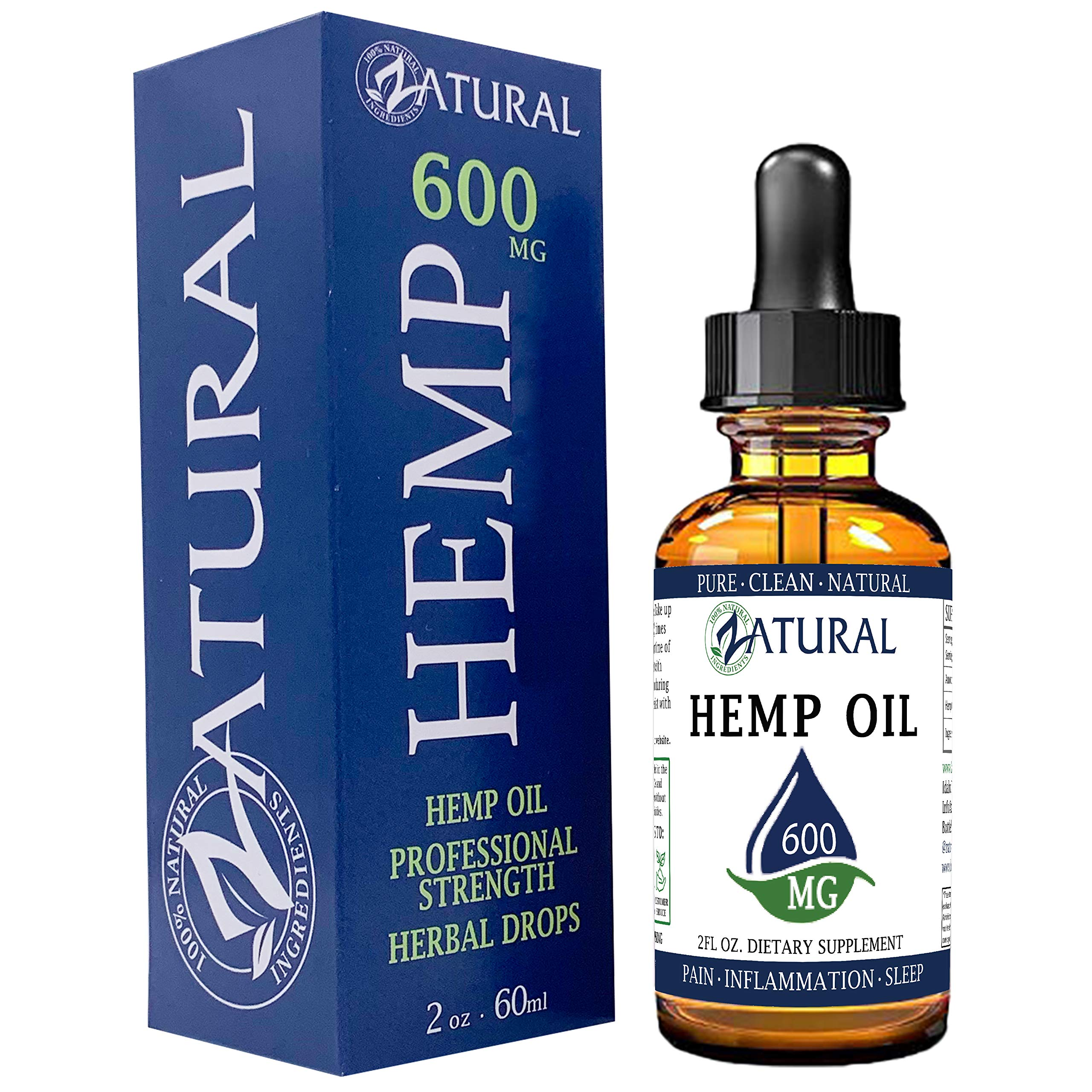 Hemp Oil Anti-Inflammatory_Pain Relief_100% Pure_Cold Pressed_High Vegan Omegas 3 & 6_No Fillers or Additives, Therapeutic Grade (600mg) by Zatural