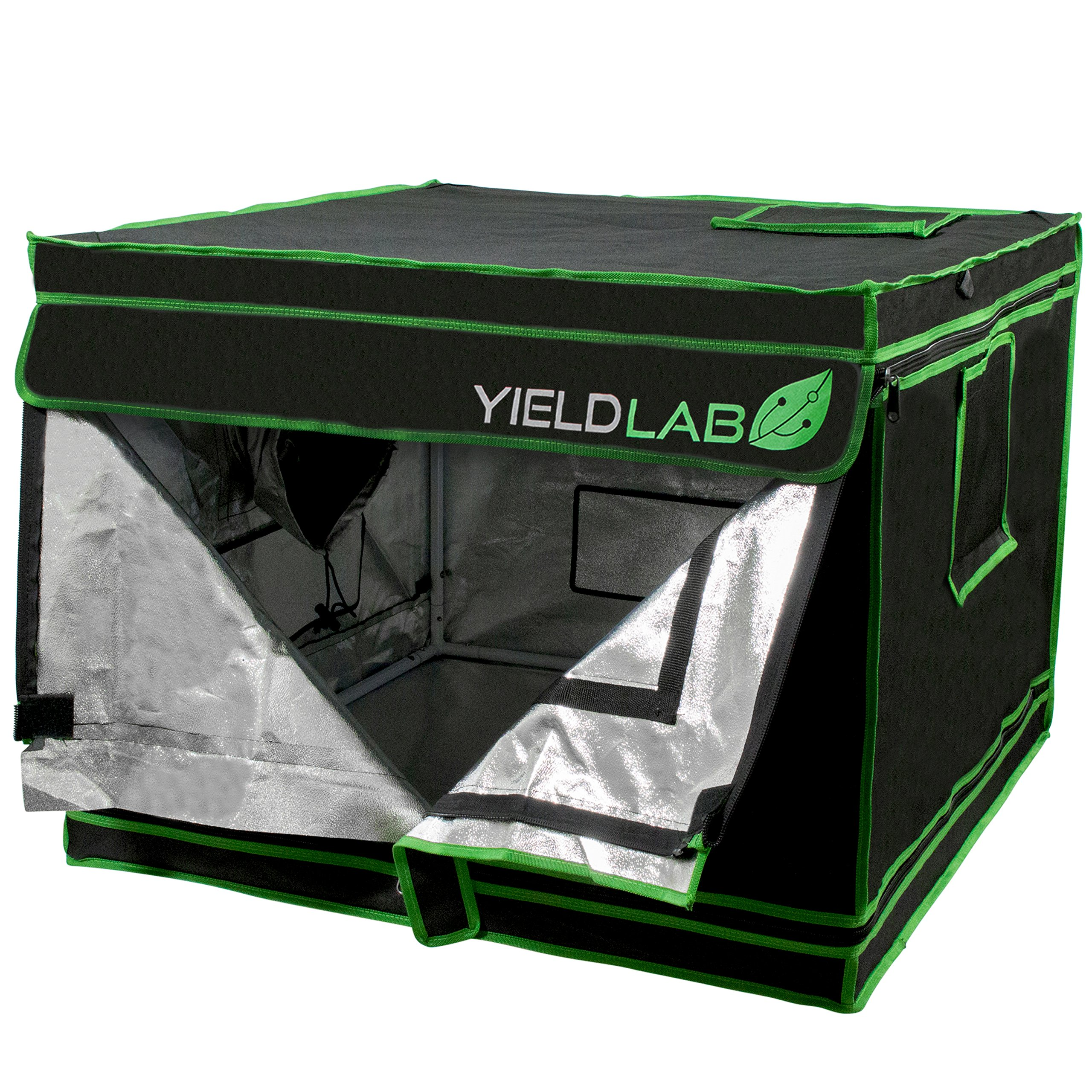 Yield Lab 32'' x 32'' x 24'' Grow Tent with Viewing Window – For Indoor, LED, T5, CFL, HPS, CMH – Hydroponic, Aeroponic, Horticulture Growing Equipment