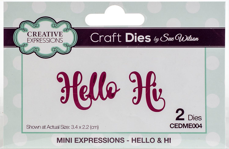 12,5/x 8/x 0,8/cm Silber Metall Sue Wilson Mini Expressions Hallo und Hi sterben