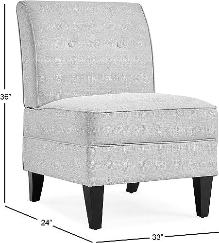 Handy Living Courtney Peacock Blue Linen Armless Chair